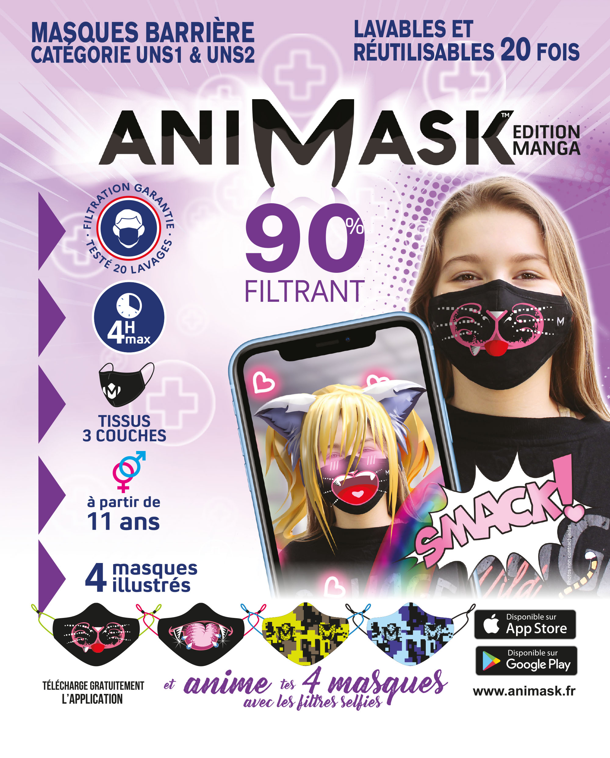 pack fille animask rose