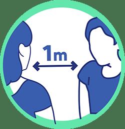 gestes barrières Animask garder 1m de distance avec les autres